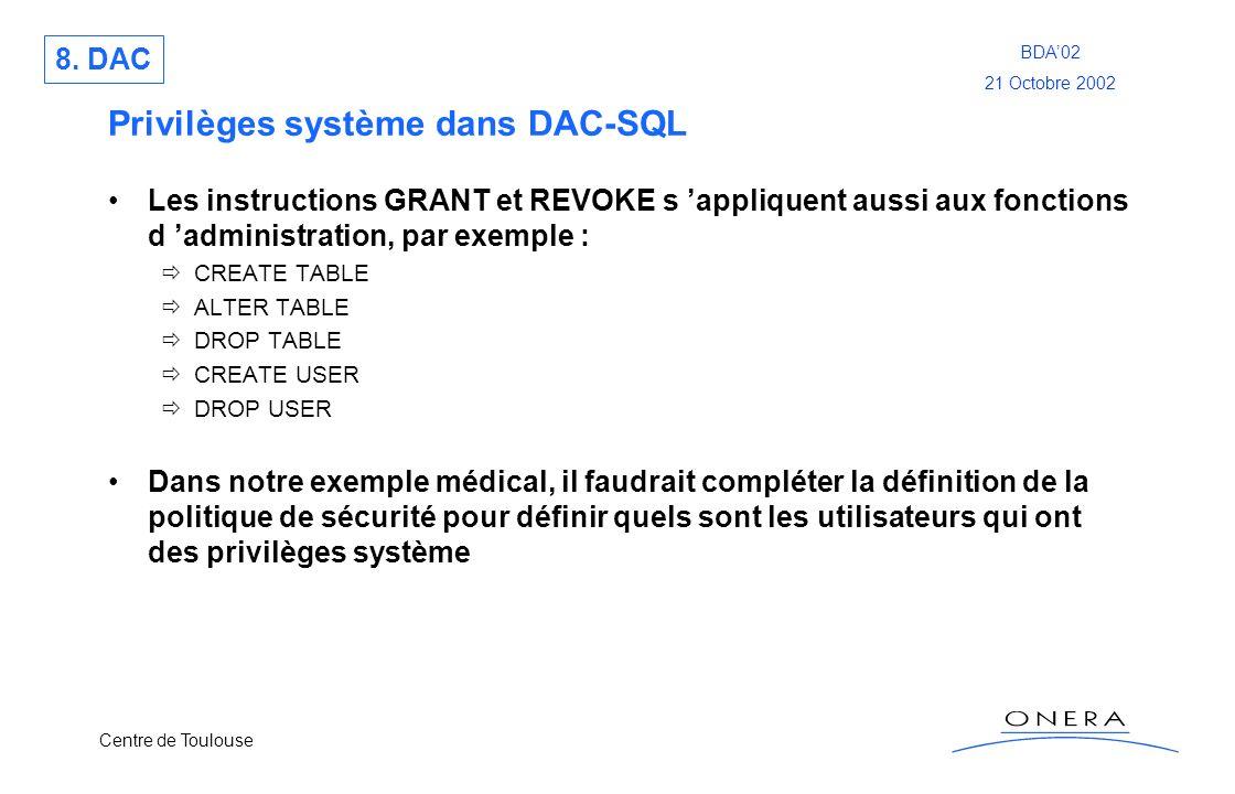 Centre de Toulouse BDA02 21 Octobre 2002 Privilèges système dans DAC-SQL Les instructions GRANT et REVOKE s appliquent aussi aux fonctions d administr