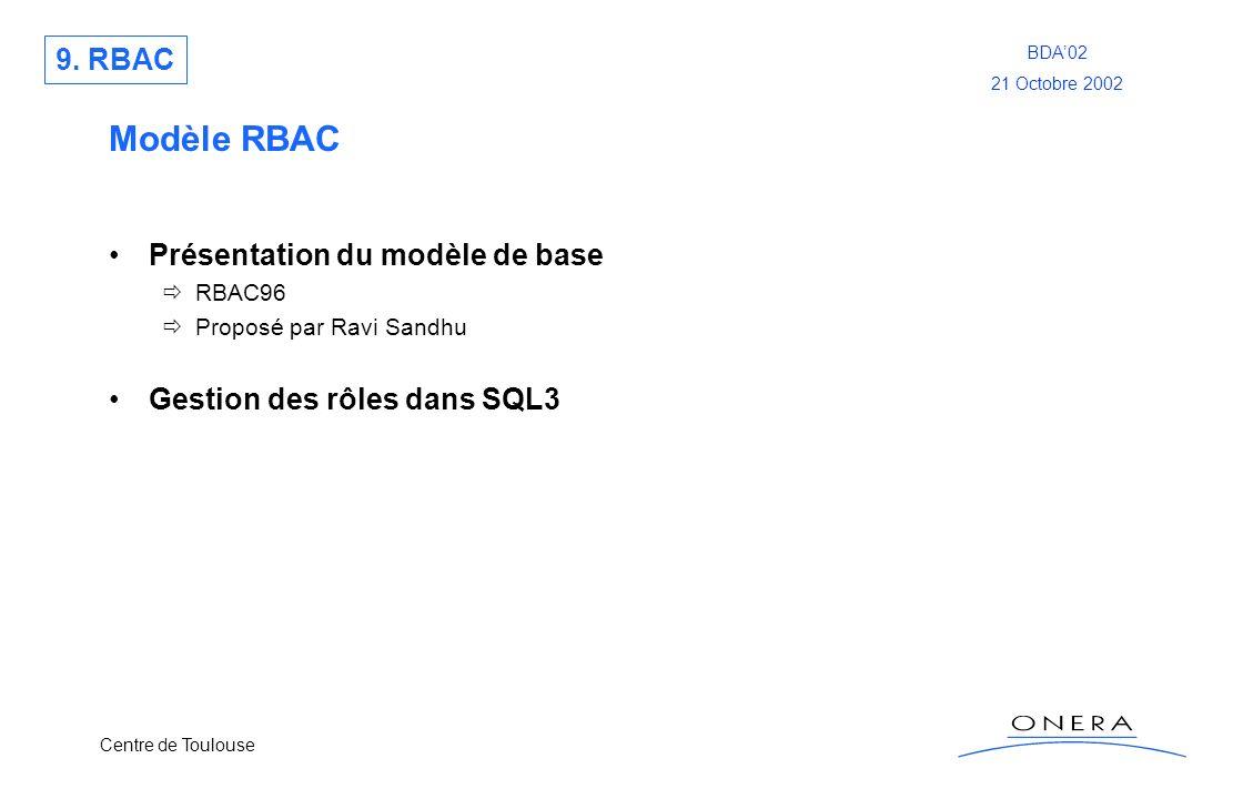 Centre de Toulouse BDA02 21 Octobre 2002 Modèle RBAC Présentation du modèle de base RBAC96 Proposé par Ravi Sandhu Gestion des rôles dans SQL3 9. RBAC