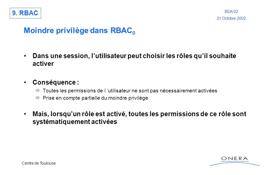 Centre de Toulouse BDA02 21 Octobre 2002 Moindre privilège dans RBAC 0 Dans une session, lutilisateur peut choisir les rôles quil souhaite activer Con