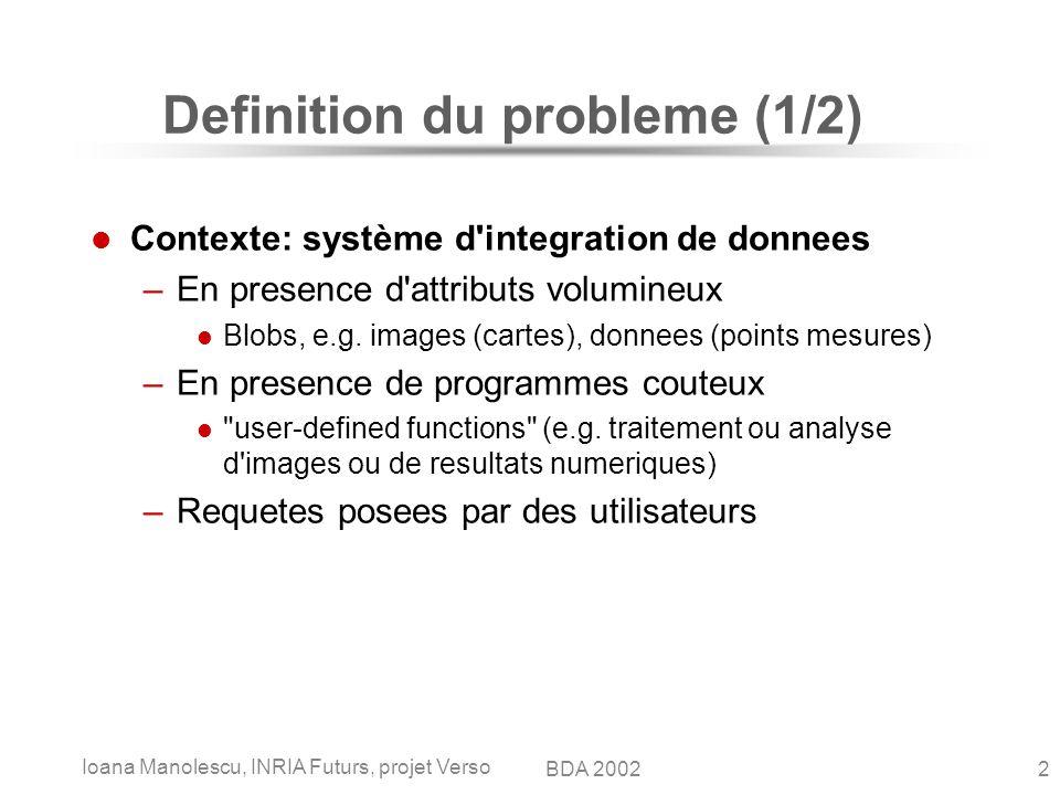 Ioana Manolescu, INRIA Futurs, projet Verso 2BDA 2002 Definition du probleme (1/2) Contexte: système d integration de donnees –En presence d attributs volumineux Blobs, e.g.