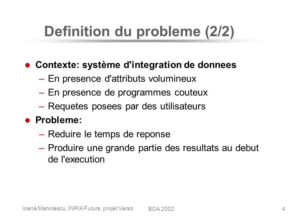 Ioana Manolescu, INRIA Futurs, projet Verso 4BDA 2002 Definition du probleme (2/2) Contexte: système d'integration de donnees –En presence d'attributs
