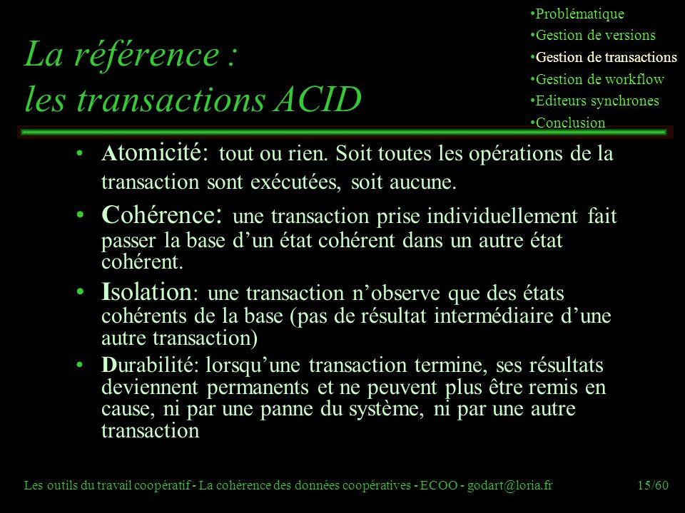 Les outils du travail coopératif - La cohérence des données coopératives - ECOO - godart@loria.fr15/60 La référence : les transactions ACID A tomicité: tout ou rien.