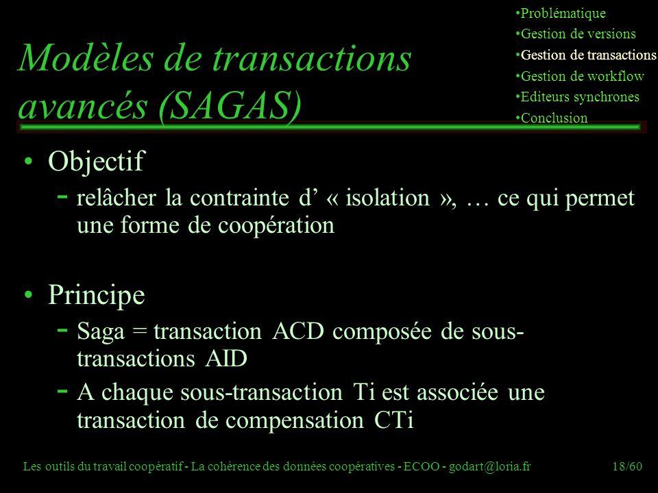 Les outils du travail coopératif - La cohérence des données coopératives - ECOO - godart@loria.fr18/60 Objectif  relâcher la contrainte d « isolation », … ce qui permet une forme de coopération Principe  Saga = transaction ACD composée de sous- transactions AID  A chaque sous-transaction Ti est associée une transaction de compensation CTi Modèles de transactions avancés (SAGAS) Problématique Gestion de versions Gestion de transactions Gestion de workflow Editeurs synchrones Conclusion