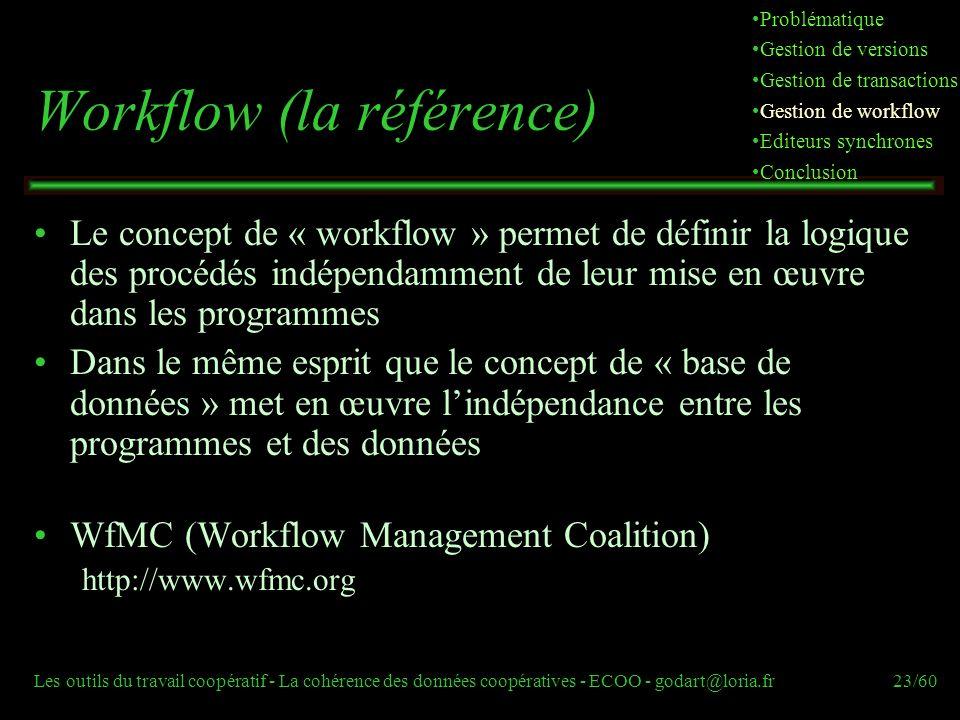 Les outils du travail coopératif - La cohérence des données coopératives - ECOO - godart@loria.fr23/60 Workflow (la référence) Le concept de « workflow » permet de définir la logique des procédés indépendamment de leur mise en œuvre dans les programmes Dans le même esprit que le concept de « base de données » met en œuvre lindépendance entre les programmes et des données WfMC (Workflow Management Coalition) http://www.wfmc.org Problématique Gestion de versions Gestion de transactions Gestion de workflow Editeurs synchrones Conclusion