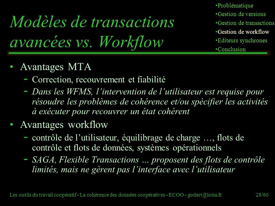 Les outils du travail coopératif - La cohérence des données coopératives - ECOO - godart@loria.fr28/60 Modèles de transactions avancées vs.