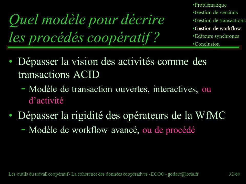 Les outils du travail coopératif - La cohérence des données coopératives - ECOO - godart@loria.fr32/60 Quel modèle pour décrire les procédés coopératif .