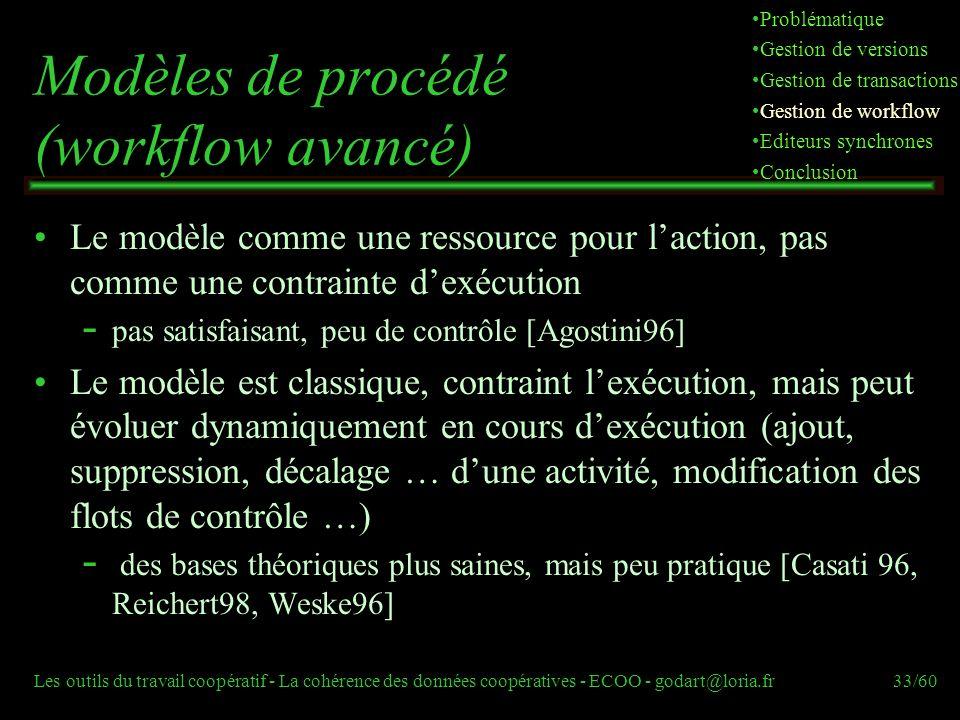 Les outils du travail coopératif - La cohérence des données coopératives - ECOO - godart@loria.fr33/60 Modèles de procédé (workflow avancé) Le modèle comme une ressource pour laction, pas comme une contrainte dexécution  pas satisfaisant, peu de contrôle [Agostini96] Le modèle est classique, contraint lexécution, mais peut évoluer dynamiquement en cours dexécution (ajout, suppression, décalage … dune activité, modification des flots de contrôle …)  des bases théoriques plus saines, mais peu pratique [Casati 96, Reichert98, Weske96] Problématique Gestion de versions Gestion de transactions Gestion de workflow Editeurs synchrones Conclusion