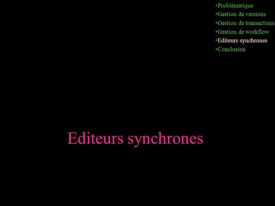 Editeurs synchrones Problématique Gestion de versions Gestion de transactions Gestion de workflow Editeurs synchrones Conclusion