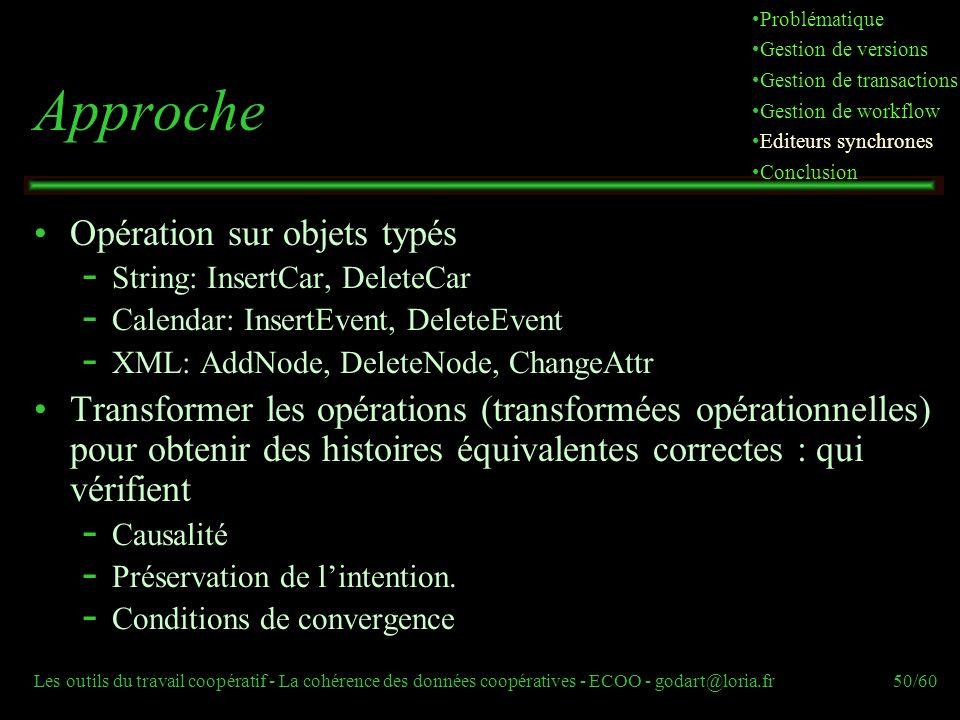 Les outils du travail coopératif - La cohérence des données coopératives - ECOO - godart@loria.fr50/60 Approche Opération sur objets typés  String: InsertCar, DeleteCar  Calendar: InsertEvent, DeleteEvent  XML: AddNode, DeleteNode, ChangeAttr Transformer les opérations (transformées opérationnelles) pour obtenir des histoires équivalentes correctes : qui vérifient  Causalité  Préservation de lintention.