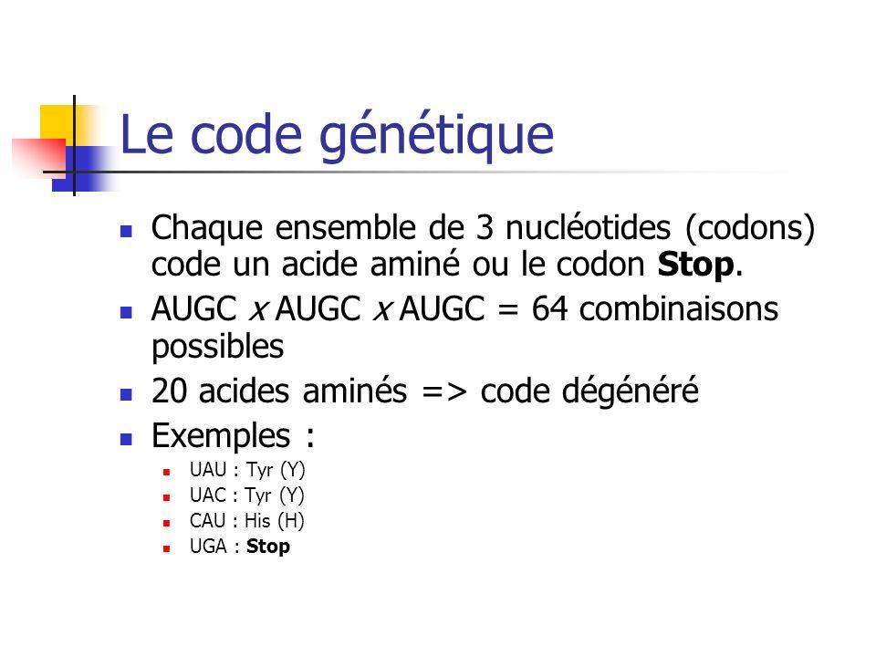 Le code génétique Chaque ensemble de 3 nucléotides (codons) code un acide aminé ou le codon Stop.