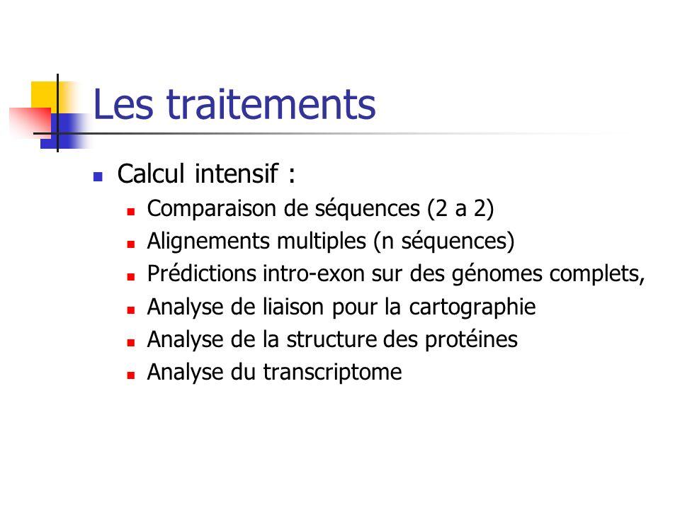 Les traitements Calcul intensif : Comparaison de séquences (2 a 2) Alignements multiples (n séquences) Prédictions intro-exon sur des génomes complets, Analyse de liaison pour la cartographie Analyse de la structure des protéines Analyse du transcriptome