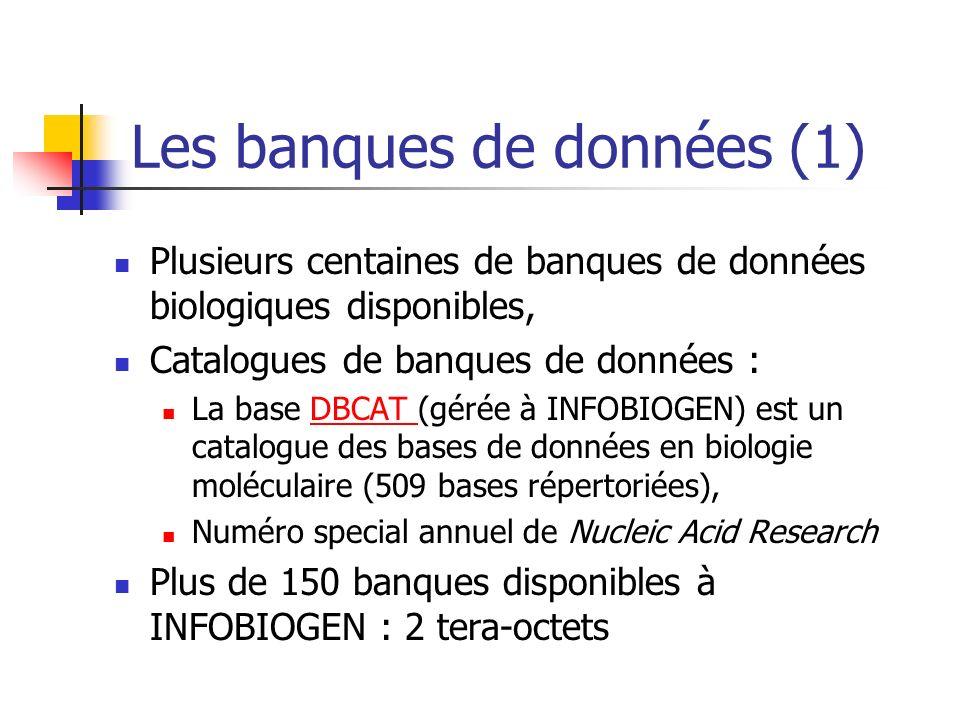Les banques de données (1) Plusieurs centaines de banques de données biologiques disponibles, Catalogues de banques de données : La base DBCAT (gérée à INFOBIOGEN) est un catalogue des bases de données en biologie moléculaire (509 bases répertoriées),DBCAT Numéro special annuel de Nucleic Acid Research Plus de 150 banques disponibles à INFOBIOGEN : 2 tera-octets
