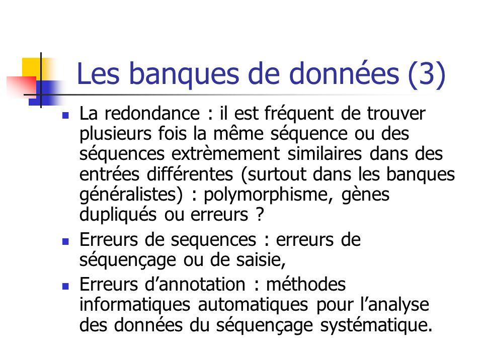 Les banques de données (3) La redondance : il est fréquent de trouver plusieurs fois la même séquence ou des séquences extrèmement similaires dans des entrées différentes (surtout dans les banques généralistes) : polymorphisme, gènes dupliqués ou erreurs .