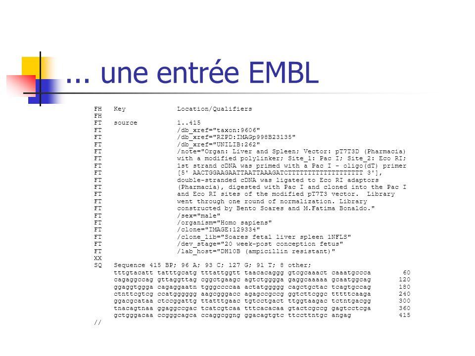... une entrée EMBL FH Key Location/Qualifiers FH FT source 1..415 FT /db_xref=