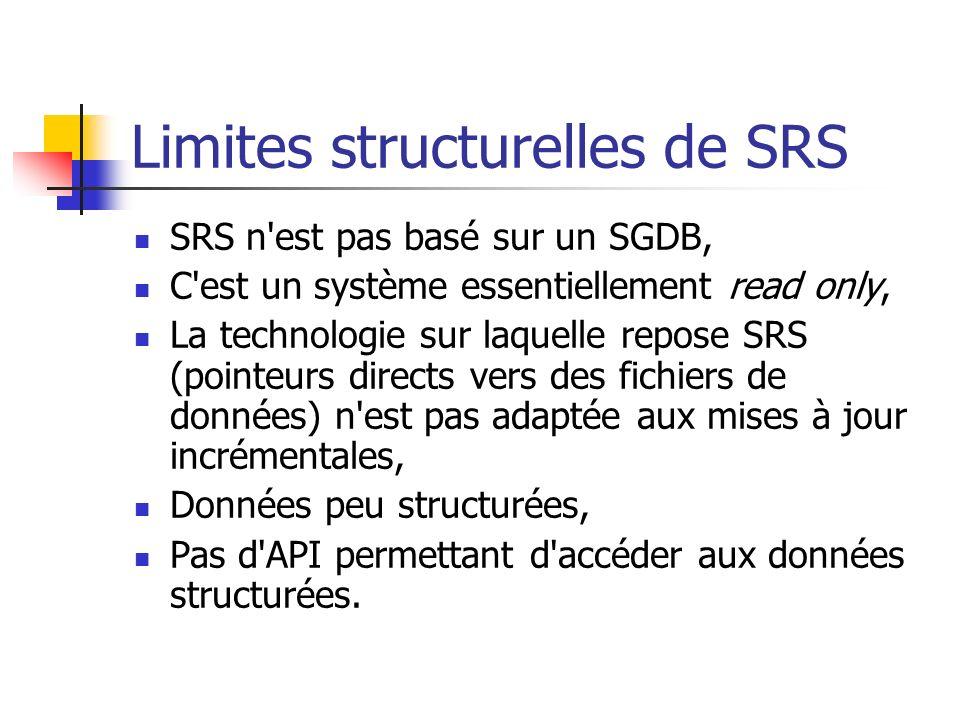 Limites structurelles de SRS SRS n est pas basé sur un SGDB, C est un système essentiellement read only, La technologie sur laquelle repose SRS (pointeurs directs vers des fichiers de données) n est pas adaptée aux mises à jour incrémentales, Données peu structurées, Pas d API permettant d accéder aux données structurées.