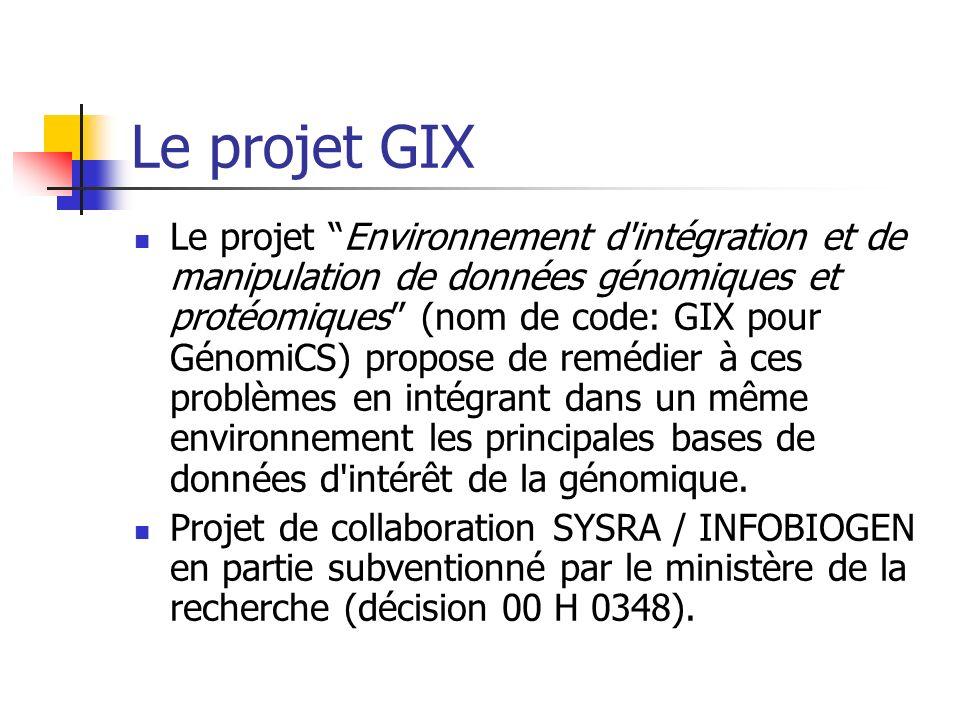 Le projet GIX Le projet Environnement d intégration et de manipulation de données génomiques et protéomiques (nom de code: GIX pour GénomiCS) propose de remédier à ces problèmes en intégrant dans un même environnement les principales bases de données d intérêt de la génomique.