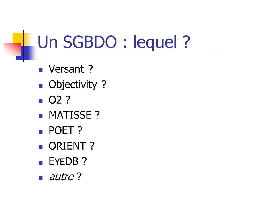 Un SGBDO : lequel ? Versant ? Objectivity ? O2 ? MATISSE ? POET ? ORIENT ? E YE DB ? autre ?