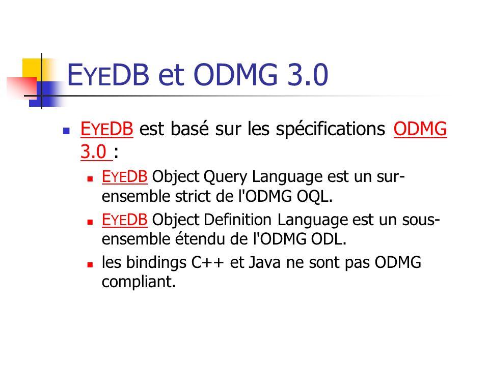 E YE DB et ODMG 3.0 E YE DB est basé sur les spécifications ODMG 3.0 : E YE DBODMG 3.0 E YE DB Object Query Language est un sur- ensemble strict de l ODMG OQL.