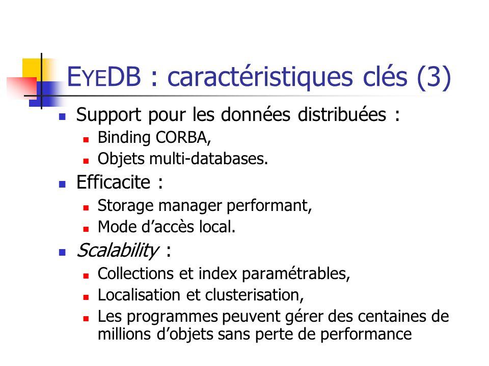 E YE DB : caractéristiques clés (3) Support pour les données distribuées : Binding CORBA, Objets multi-databases.