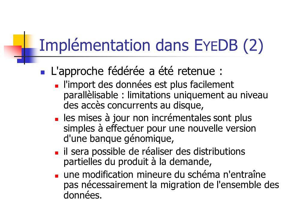 Implémentation dans E YE DB (2) L approche fédérée a été retenue : l import des données est plus facilement parallèlisable : limitations uniquement au niveau des accès concurrents au disque, les mises à jour non incrémentales sont plus simples à effectuer pour une nouvelle version d une banque génomique, il sera possible de réaliser des distributions partielles du produit à la demande, une modification mineure du schéma n entraîne pas nécessairement la migration de l ensemble des données.