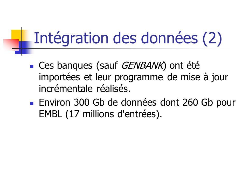 Intégration des données (2) Ces banques (sauf GENBANK) ont été importées et leur programme de mise à jour incrémentale réalisés.
