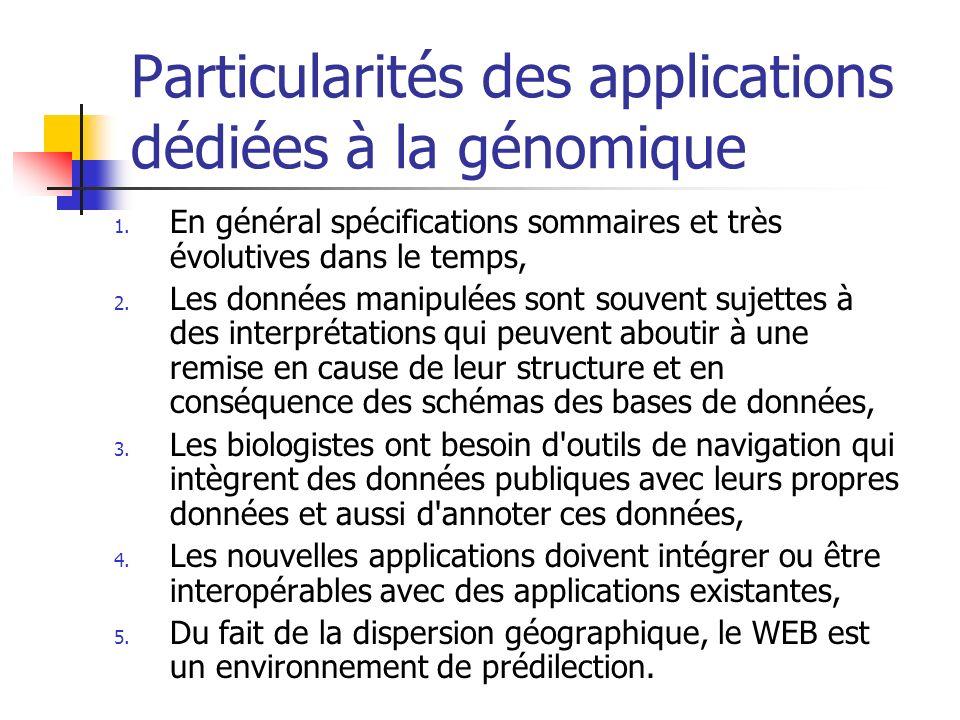 Particularités des applications dédiées à la génomique 1.