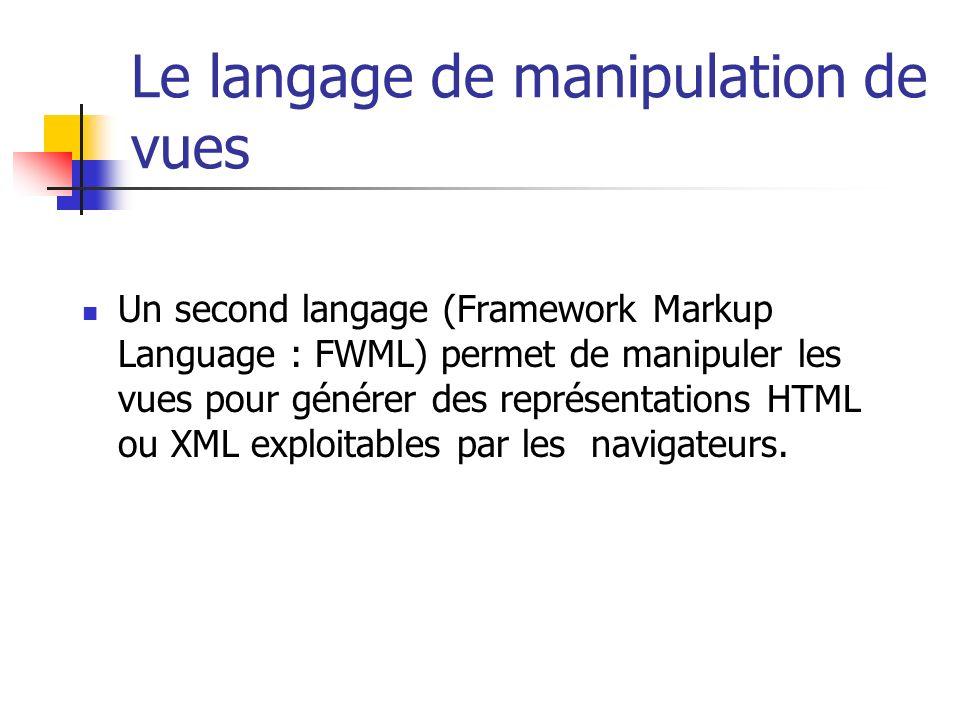 Le langage de manipulation de vues Un second langage (Framework Markup Language : FWML) permet de manipuler les vues pour générer des représentations HTML ou XML exploitables par les navigateurs.