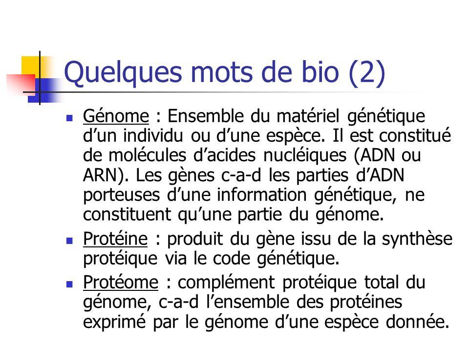 Quelques mots de bio (2) Génome : Ensemble du matériel génétique dun individu ou dune espèce.