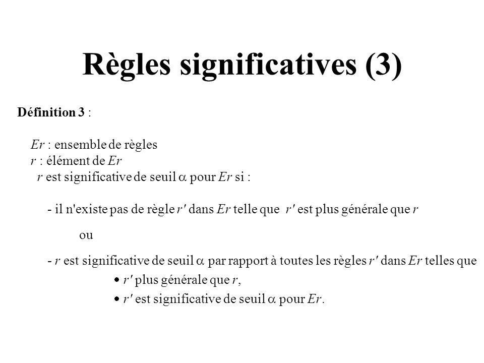 Règles significatives (3) Définition 3 : Er : ensemble de règles r : élément de Er r est significative de seuil pour Er si : - il n'existe pas de règl