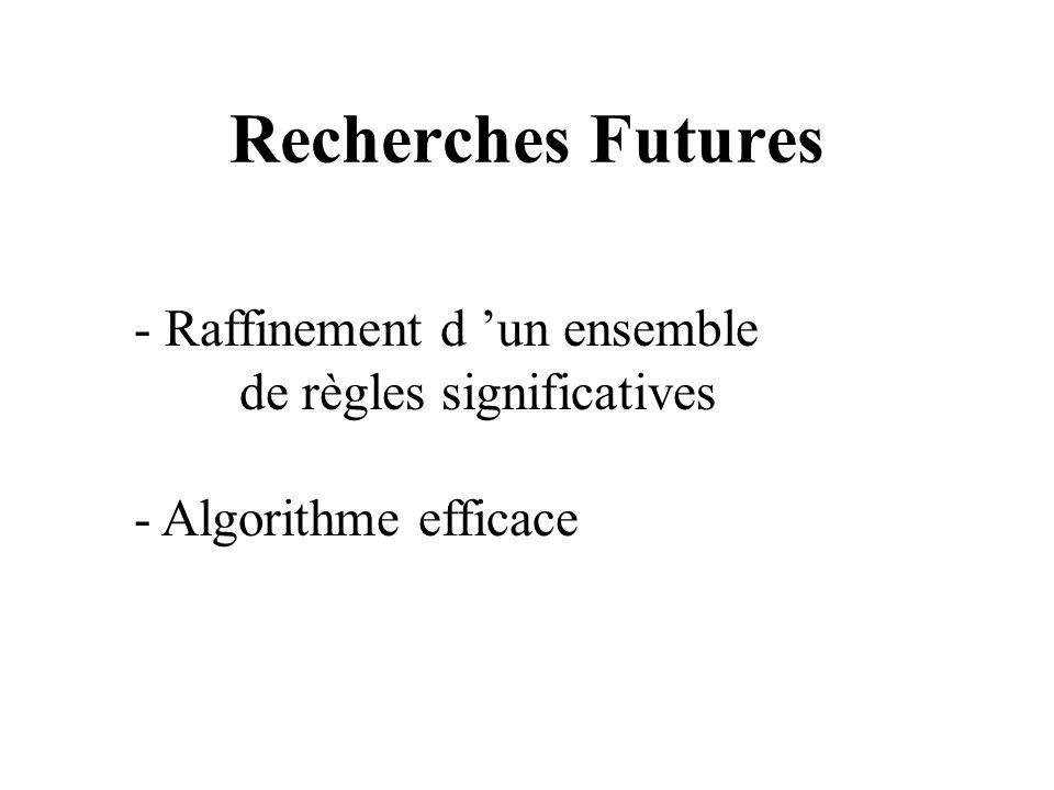 Recherches Futures - Raffinement d un ensemble de règles significatives - Algorithme efficace