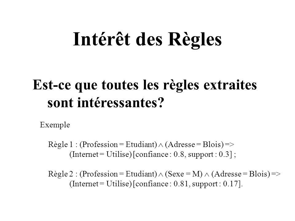 Intérêt des Règles Est-ce que toutes les règles extraites sont intéressantes? Exemple Règle 1 : (Profession = Etudiant) (Adresse = Blois) => (Internet