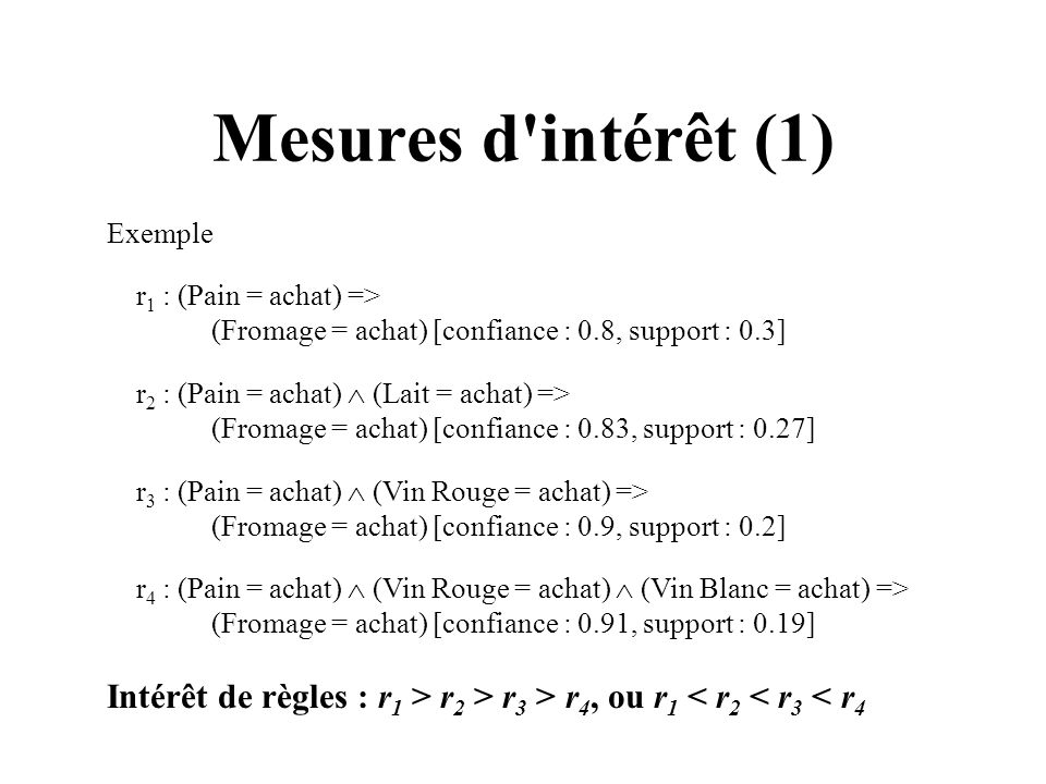 Mesures d'intérêt (1) Exemple r 1 : (Pain = achat) => (Fromage = achat) [confiance : 0.8, support : 0.3] r 2 : (Pain = achat) (Lait = achat) => (Froma