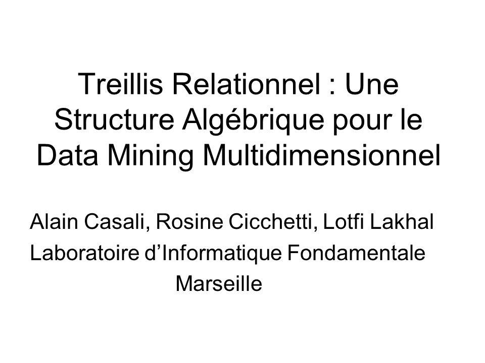 Plan 1.Nécessité dun espace de recherche pour le data mining multidimensionnel 2.Treillis relationnel 3.Treillis relationnel contraint 4.Treillis relationnel vs Datacube 5.Perspectives Casali, Cicchetti, Lakhal : Treillis Relationnel 2