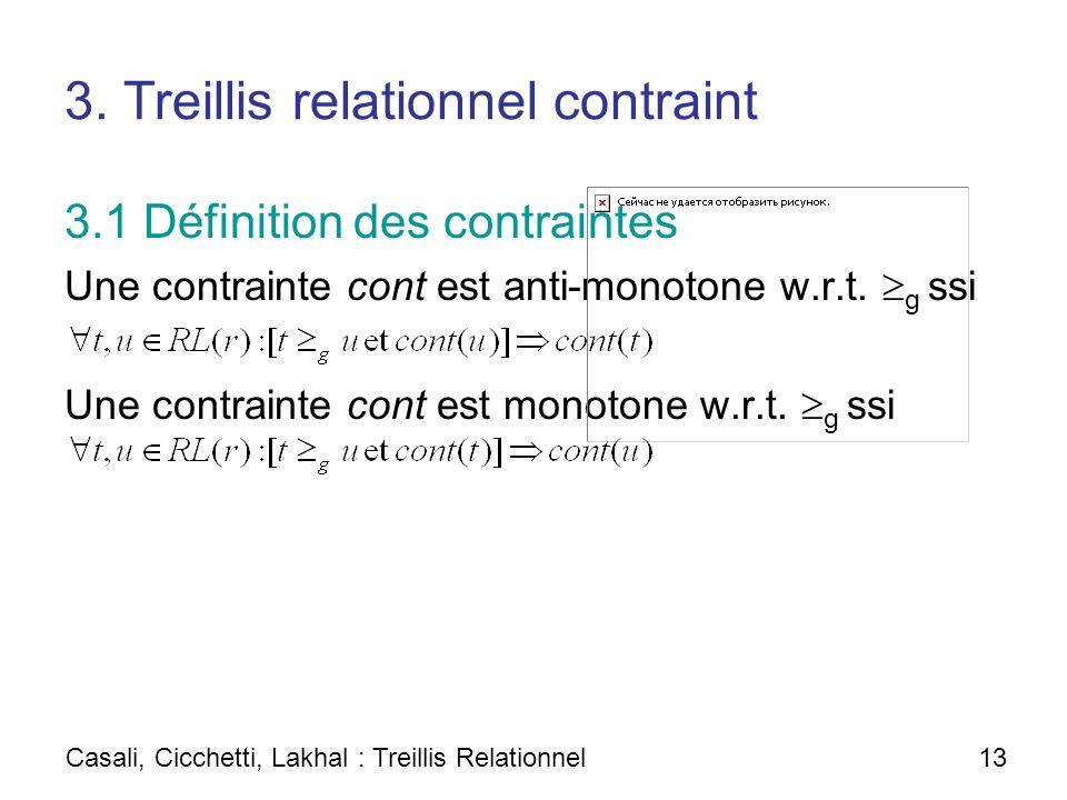 3. Treillis relationnel contraint 3.1 Définition des contraintes Une contrainte cont est anti-monotone w.r.t. g ssi Une contrainte cont est monotone w