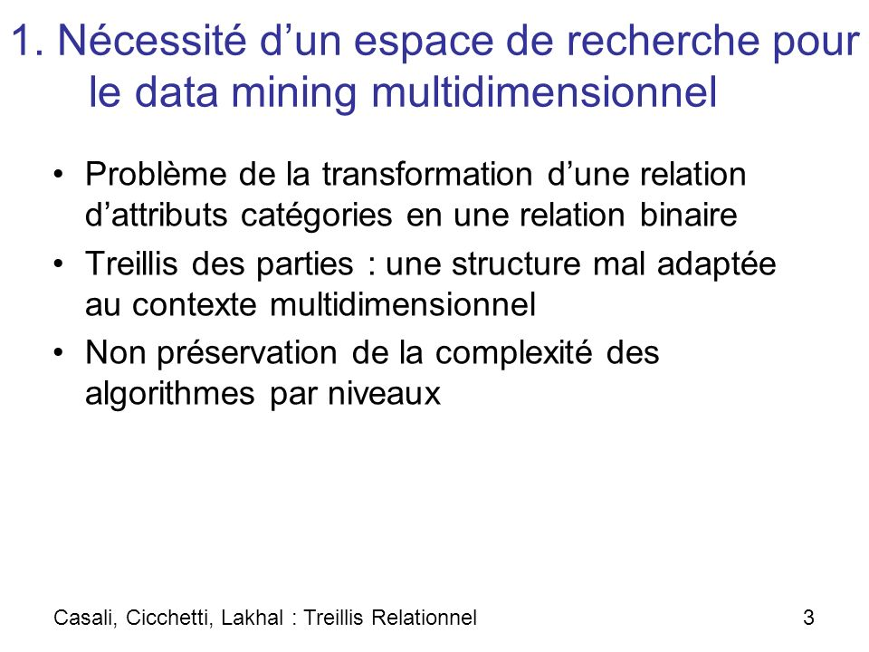 1. Nécessité dun espace de recherche pour le data mining multidimensionnel Problème de la transformation dune relation dattributs catégories en une re