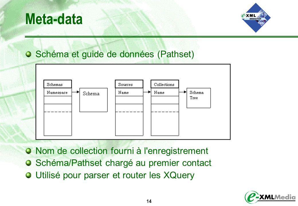14 Meta-data Schéma et guide de données (Pathset) Nom de collection fourni à l'enregistrement Schéma/Pathset chargé au premier contact Utilisé pour pa
