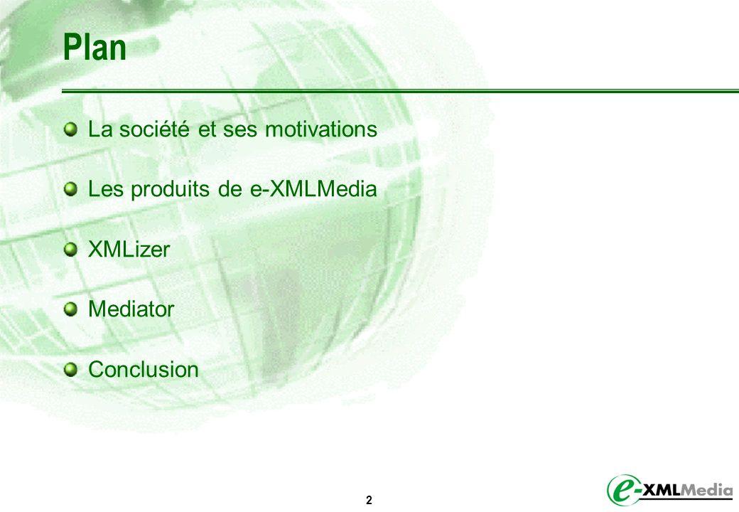 2 Plan La société et ses motivations Les produits de e-XMLMedia XMLizer Mediator Conclusion