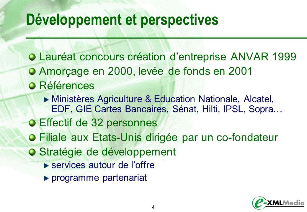 4 Développement et perspectives Lauréat concours création dentreprise ANVAR 1999 Amorçage en 2000, levée de fonds en 2001 Références Ministères Agricu
