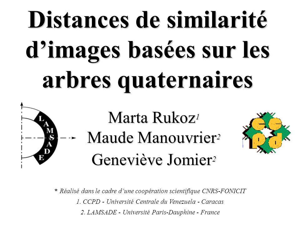 Distances de similarité dimages basées sur les arbres quaternaires Marta Rukoz 1 Maude Manouvrier 2 Geneviève Jomier 2 * * Réalisé dans le cadre dune