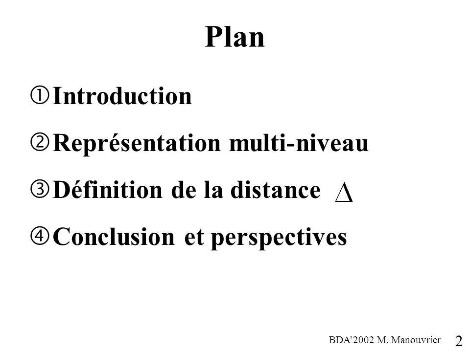 Plan Introduction Représentation multi-niveau Définition de la distance Conclusion et perspectives 2 BDA2002 M. Manouvrier