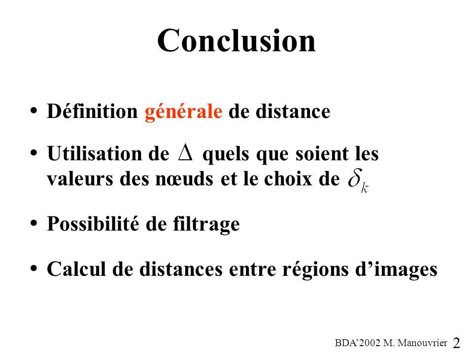 Conclusion Définition générale de distance Utilisation de quels que soient les valeurs des nœuds et le choix de Possibilité de filtrage Calcul de distances entre régions dimages 21 BDA2002 M.