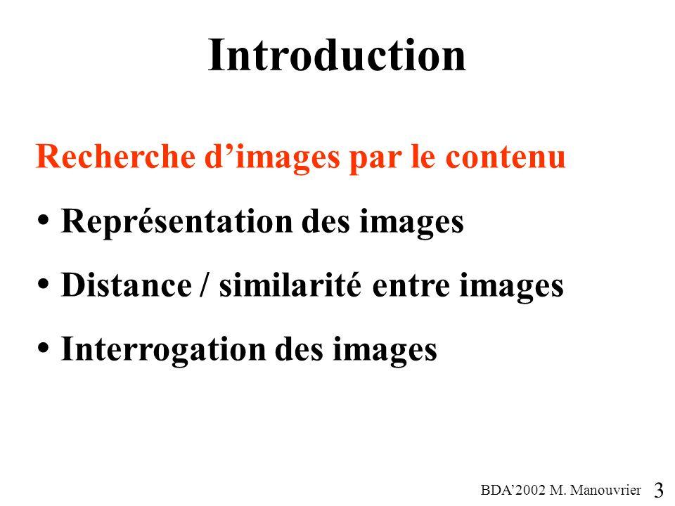 Introduction Recherche dimages par le contenu Représentation des images Distance / similarité entre images Interrogation des images 3 BDA2002 M. Manou