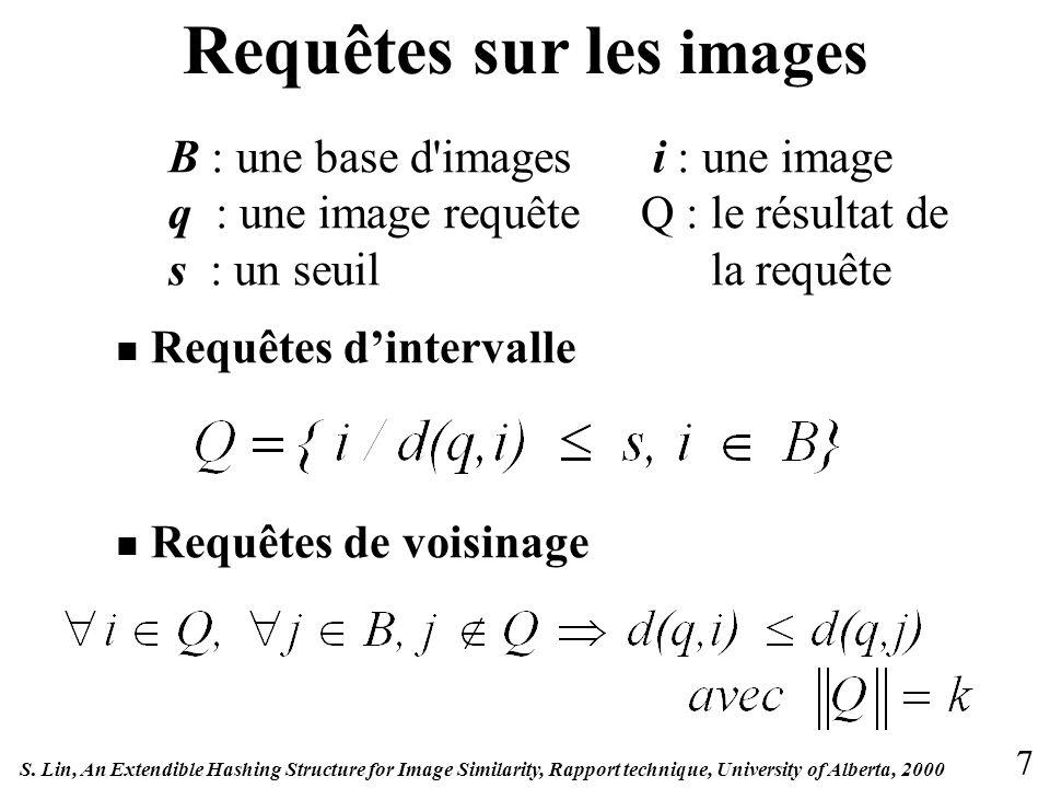 Requêtes sur les images B : une base d images i : une image q : une image requêteQ : le résultat de s : un seuil la requête Requêtes dintervalle Requêtes de voisinage 7 S.