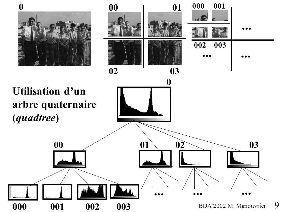0001 0 000001 0203... 002003 9 Utilisation dun arbre quaternaire (quadtree) 0 03... 000001002003... 000102 BDA2002 M. Manouvrier