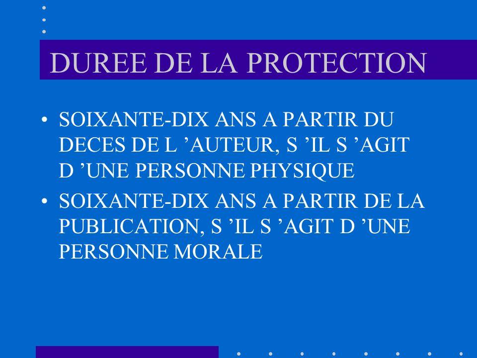 DUREE DE LA PROTECTION SOIXANTE-DIX ANS A PARTIR DU DECES DE L AUTEUR, S IL S AGIT D UNE PERSONNE PHYSIQUE SOIXANTE-DIX ANS A PARTIR DE LA PUBLICATION