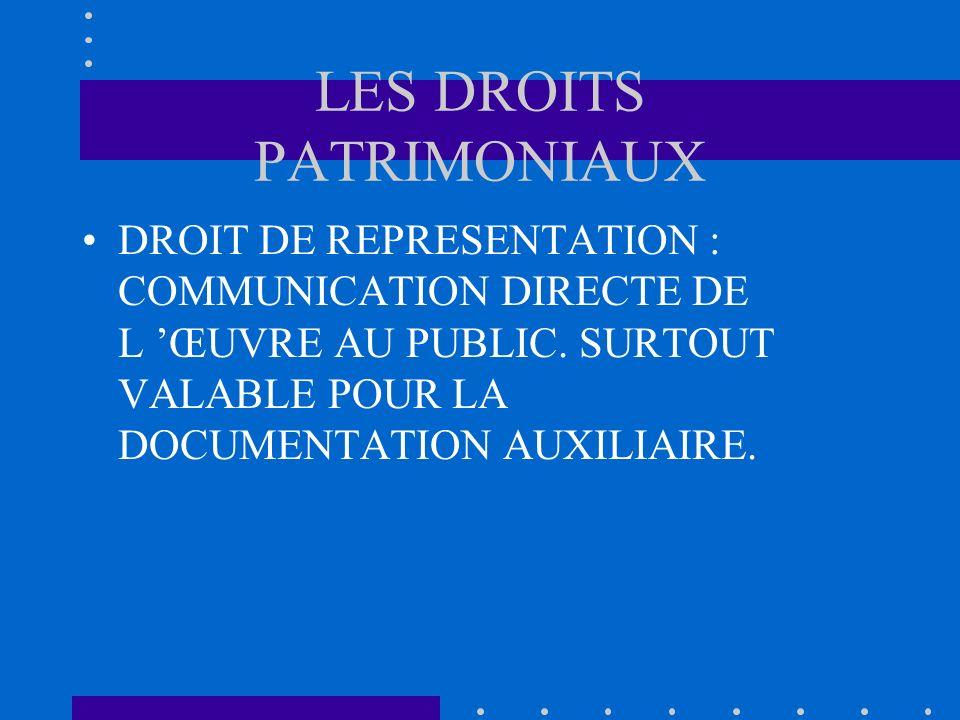 LES DROITS PATRIMONIAUX DROIT DE REPRESENTATION : COMMUNICATION DIRECTE DE L ŒUVRE AU PUBLIC. SURTOUT VALABLE POUR LA DOCUMENTATION AUXILIAIRE.