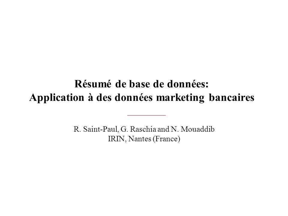 Résumé de base de données: Application à des données marketing bancaires R. Saint-Paul, G. Raschia and N. Mouaddib IRIN, Nantes (France)