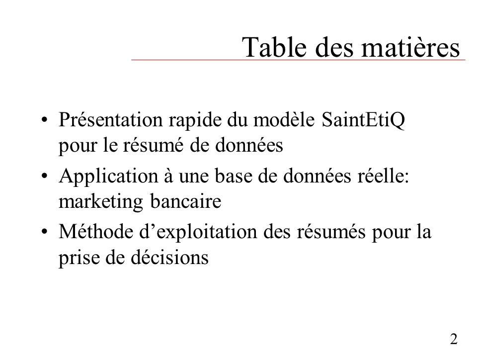 Table des matières Présentation rapide du modèle SaintEtiQ pour le résumé de données Application à une base de données réelle: marketing bancaire Méth