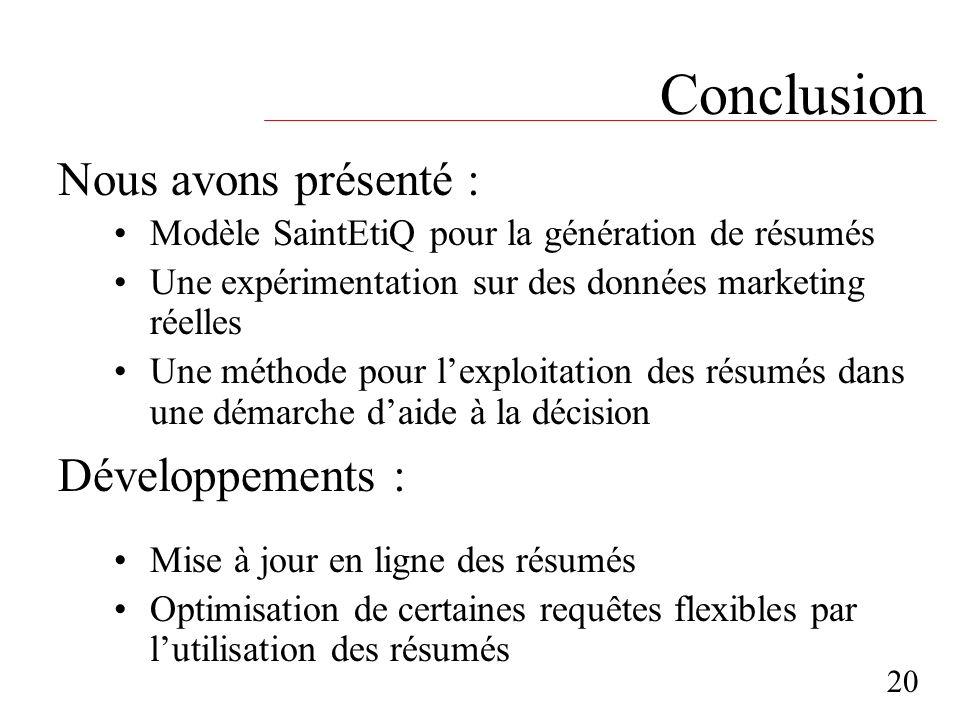 Conclusion Modèle SaintEtiQ pour la génération de résumés Une expérimentation sur des données marketing réelles Une méthode pour lexploitation des rés
