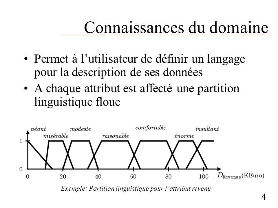 Connaissances du domaine Permet à lutilisateur de définir un langage pour la description de ses données A chaque attribut est affecté une partition li